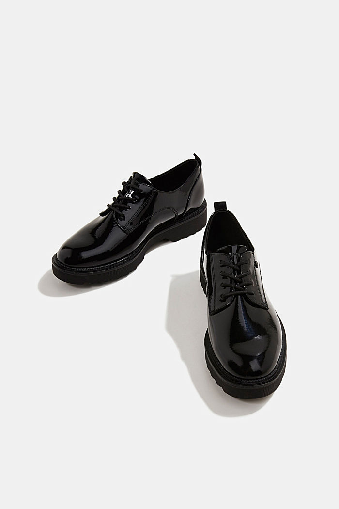 Patent lace-up shoes, BLACK, detail image number 6