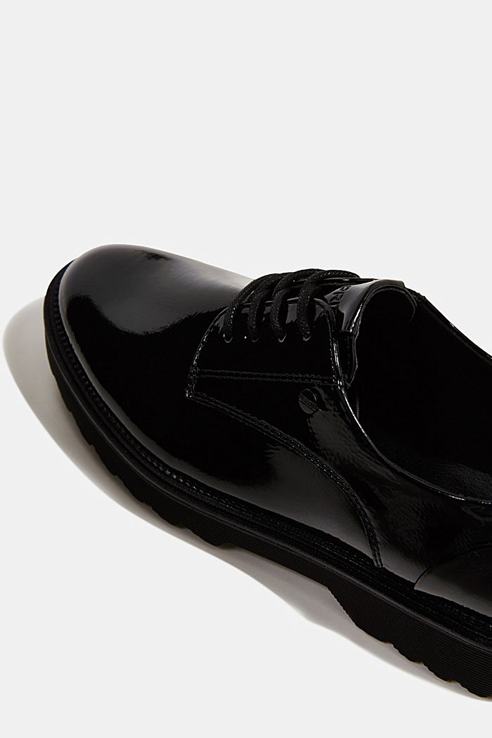 Patent lace-up shoes, BLACK, detail image number 4