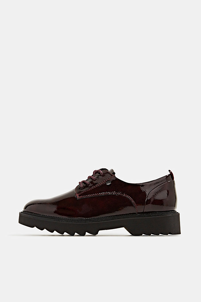 Patent lace-up shoes, BORDEAUX RED, detail image number 0