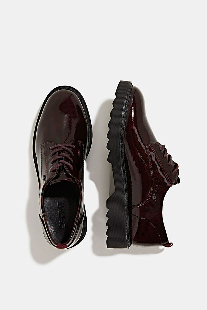 Patent lace-up shoes, BORDEAUX RED, detail image number 1