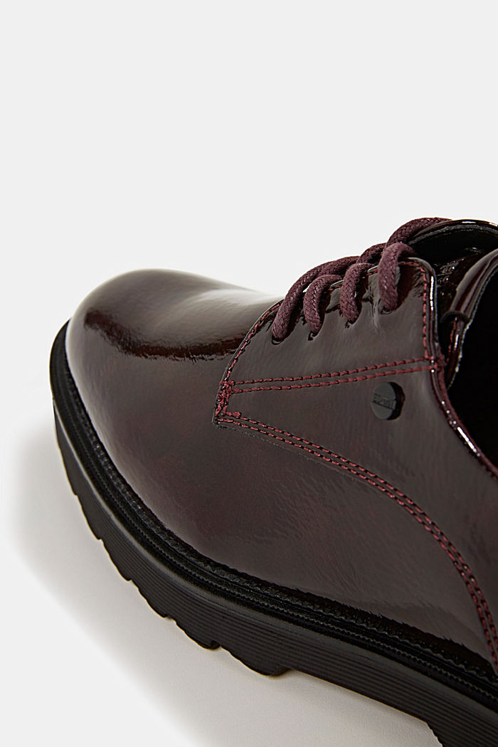 Patent lace-up shoes, BORDEAUX RED, detail image number 4