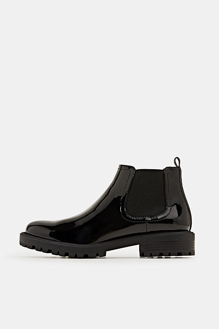 Chelsea boots with a patent finish, BLACK, detail image number 0