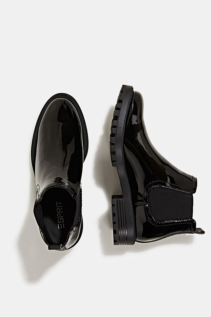 Chelsea boots with a patent finish, BLACK, detail image number 1