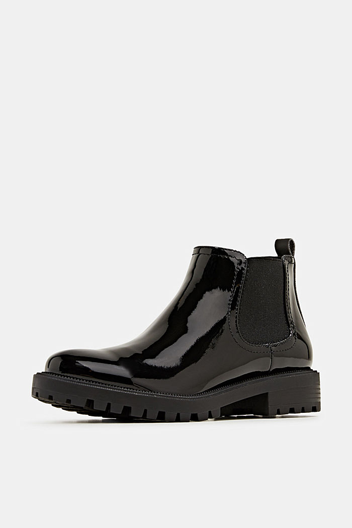 Chelsea boots with a patent finish, BLACK, detail image number 2