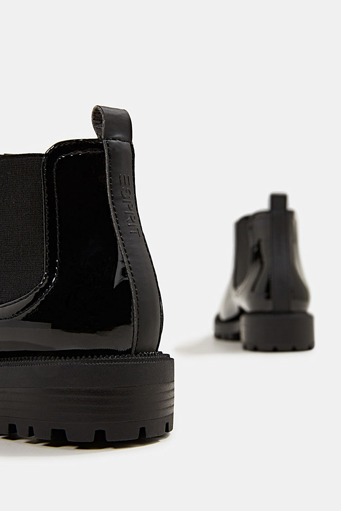 Chelsea boots with a patent finish, BLACK, detail image number 5