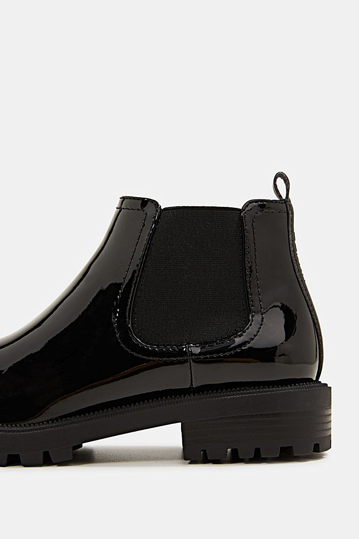 Chelsea boots with a patent finish, BLACK, detail image number 4