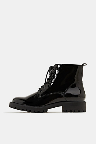 Patent lace-up boots