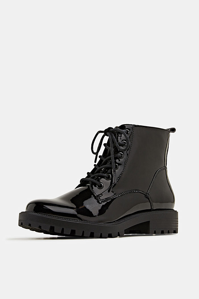 Patent lace-up boots, BLACK, detail image number 2