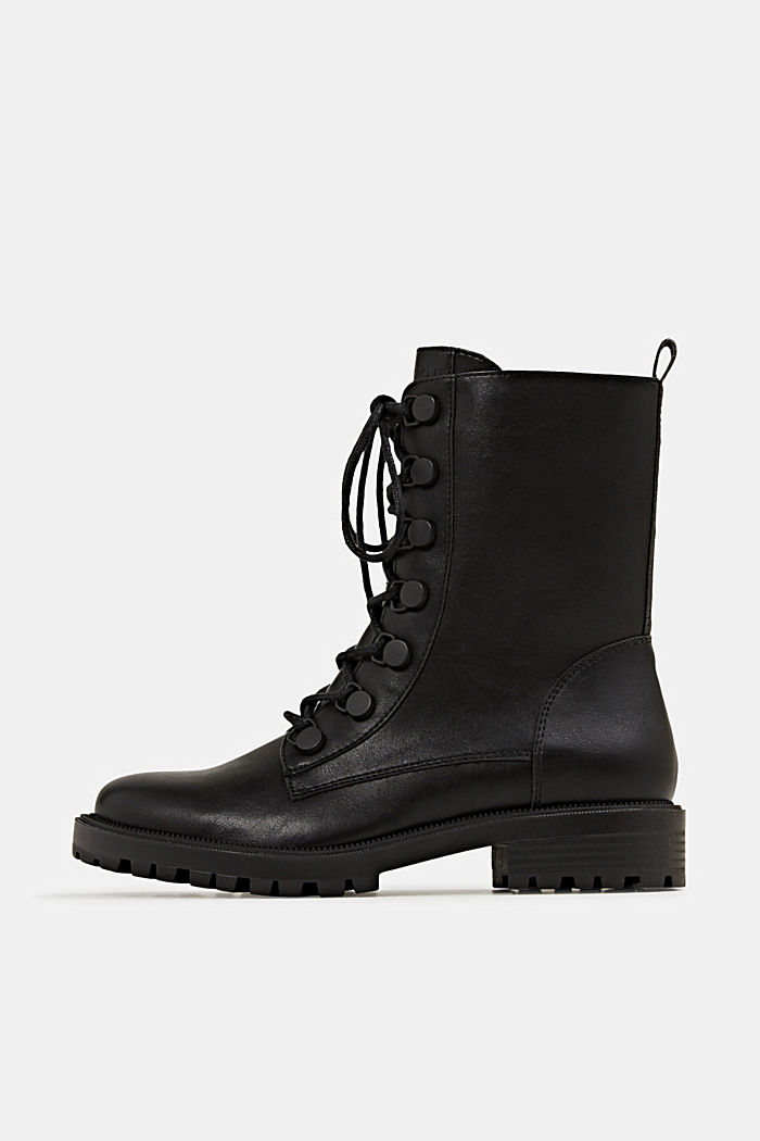 Faux leather lace-up boots, BLACK, overview