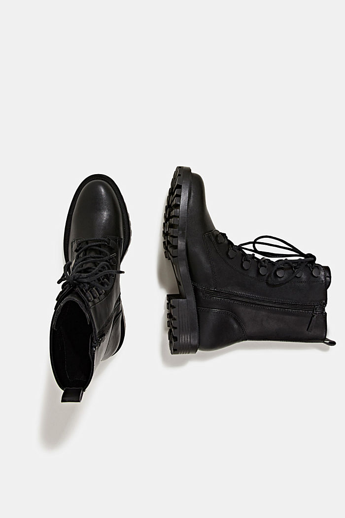 Faux leather lace-up boots, BLACK, detail image number 1