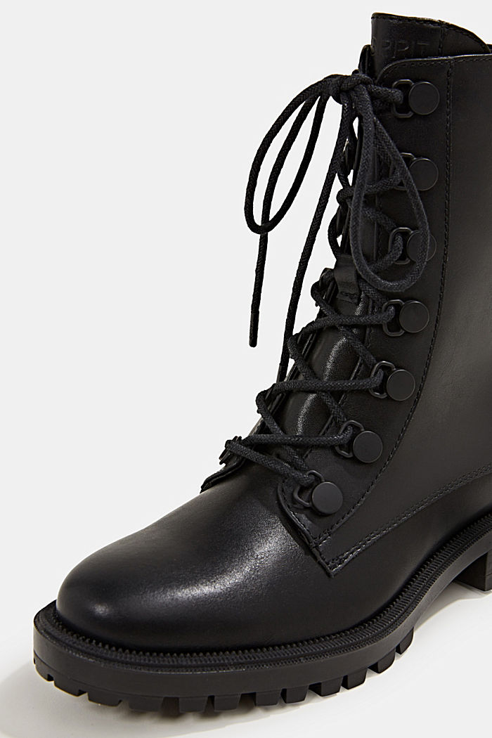 Schnürboots in Leder-Optik, BLACK, detail image number 4