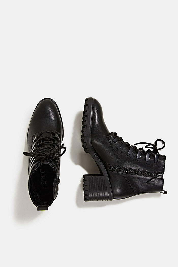 Faux leather lace-up boots, BLACK, detail image number 5