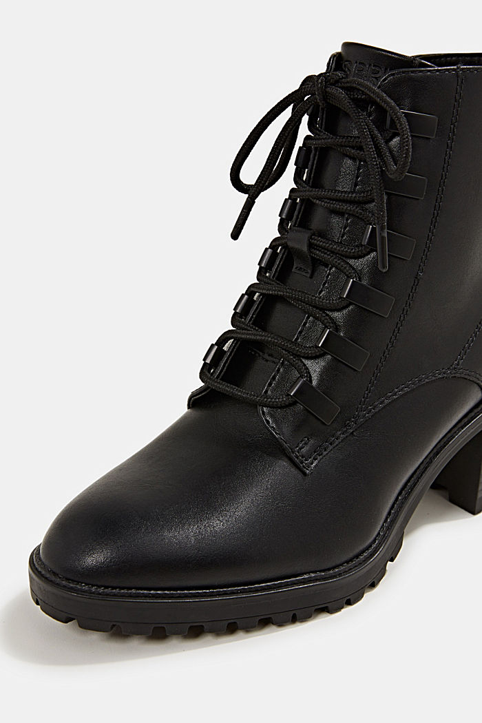 Faux leather lace-up boots, BLACK, detail image number 3