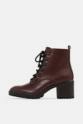Faux leather lace-up boots, BORDEAUX RED, detail