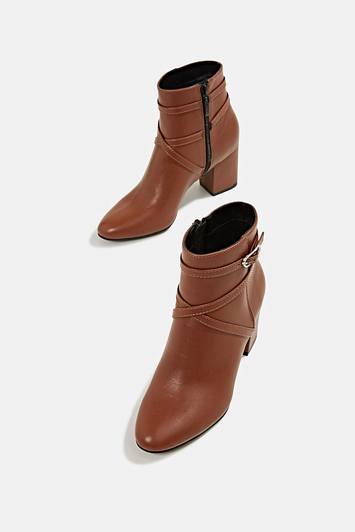 Booties in Leder-Optik, TOFFEE, detail image number 1
