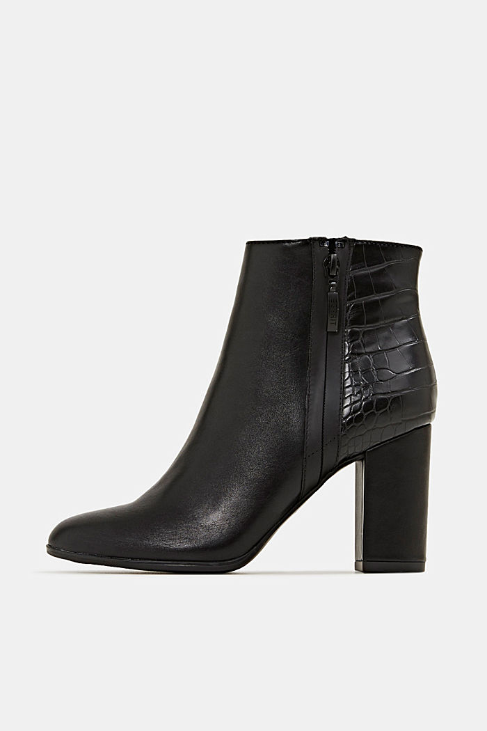 Faux leather ankle boots with an embossed reptile pattern