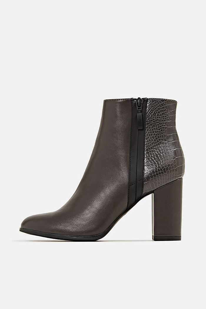 Faux leather ankle boots with an embossed reptile pattern, DARK GREY, detail image number 0