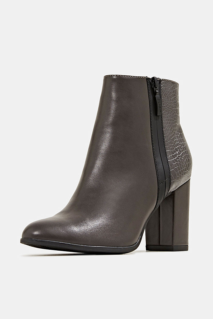 Faux leather ankle boots with an embossed reptile pattern, DARK GREY, detail image number 2