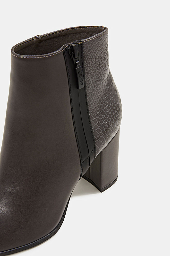 Faux leather ankle boots with an embossed reptile pattern, DARK GREY, detail image number 5
