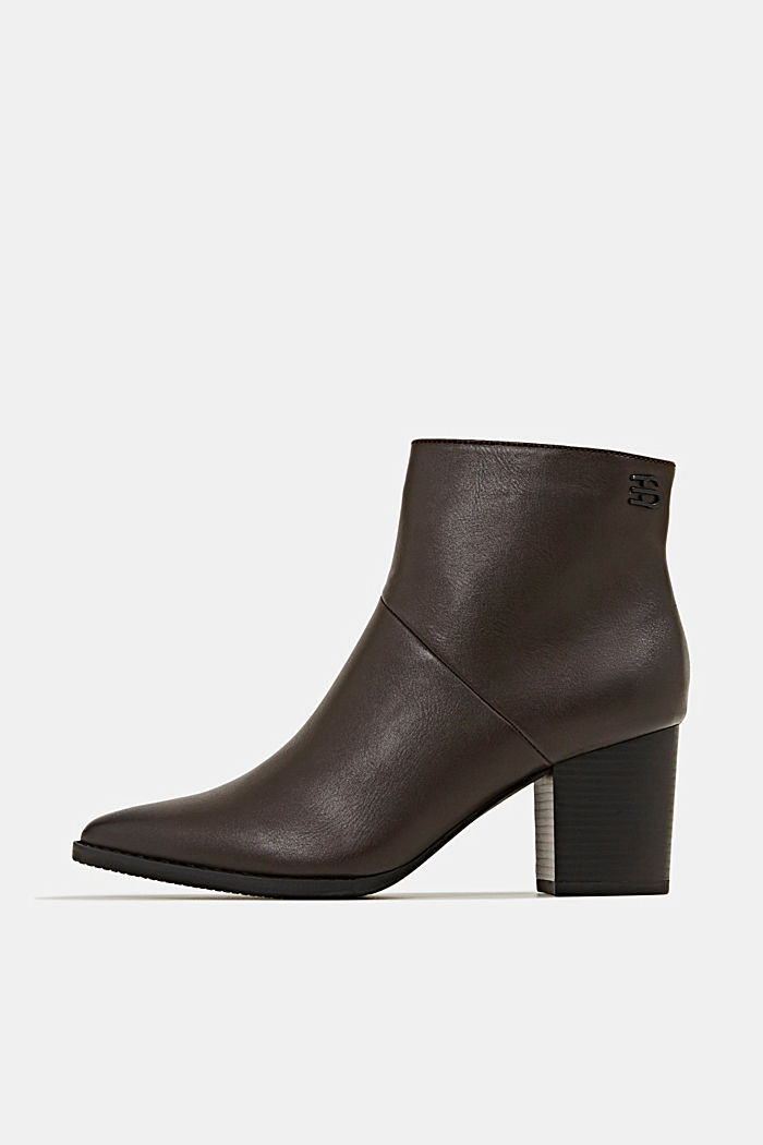 Faux leather ankle boots, DARK BROWN, overview