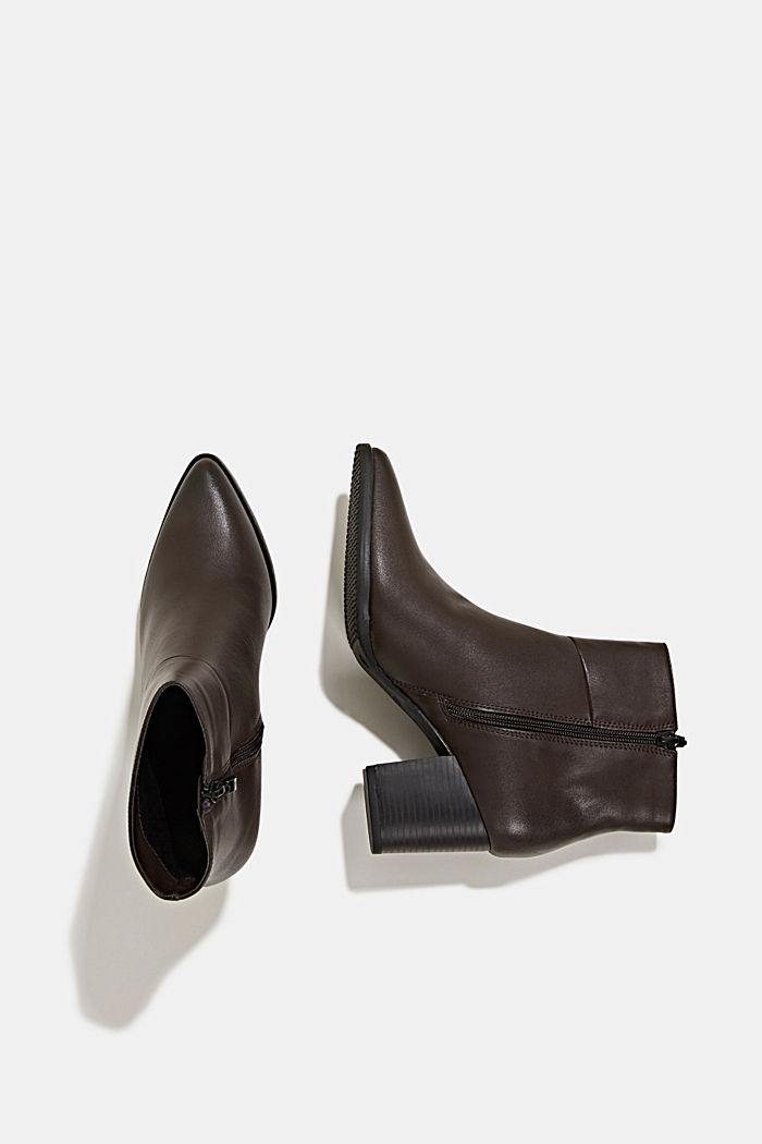 Faux leather ankle boots, DARK BROWN, detail image number 1