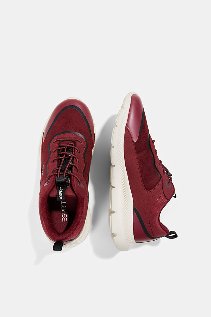 Trainers in a mix of materials, BORDEAUX RED, detail image number 1