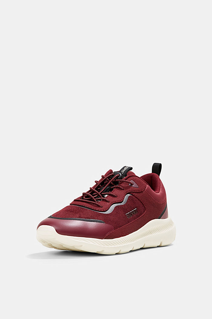 Trainers in a mix of materials, BORDEAUX RED, detail image number 2