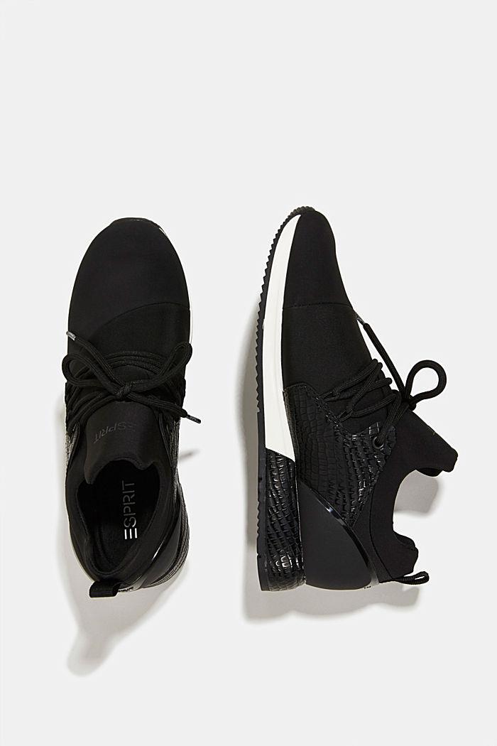 Sneakers composées de néoprène et ornées d´une estampe façon reptile, BLACK, detail image number 1