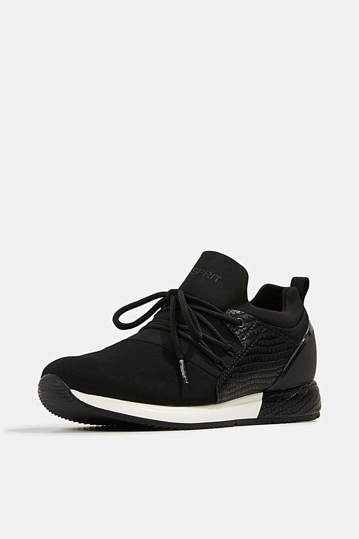 Sneakers composées de néoprène et ornées d´une estampe façon reptile, BLACK, detail image number 2