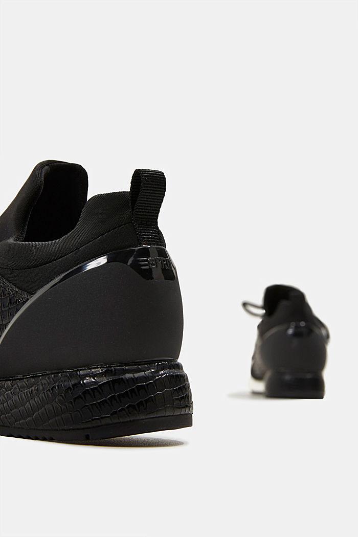 Sneakers composées de néoprène et ornées d´une estampe façon reptile, BLACK, detail image number 5