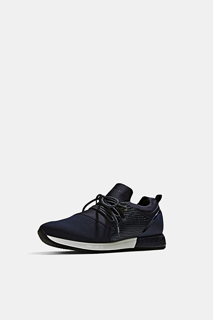 Trainers with neoprene and an embossed reptile finish, NAVY, detail image number 2
