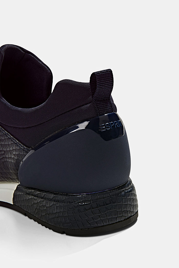 Trainers with neoprene and an embossed reptile finish, NAVY, detail image number 5