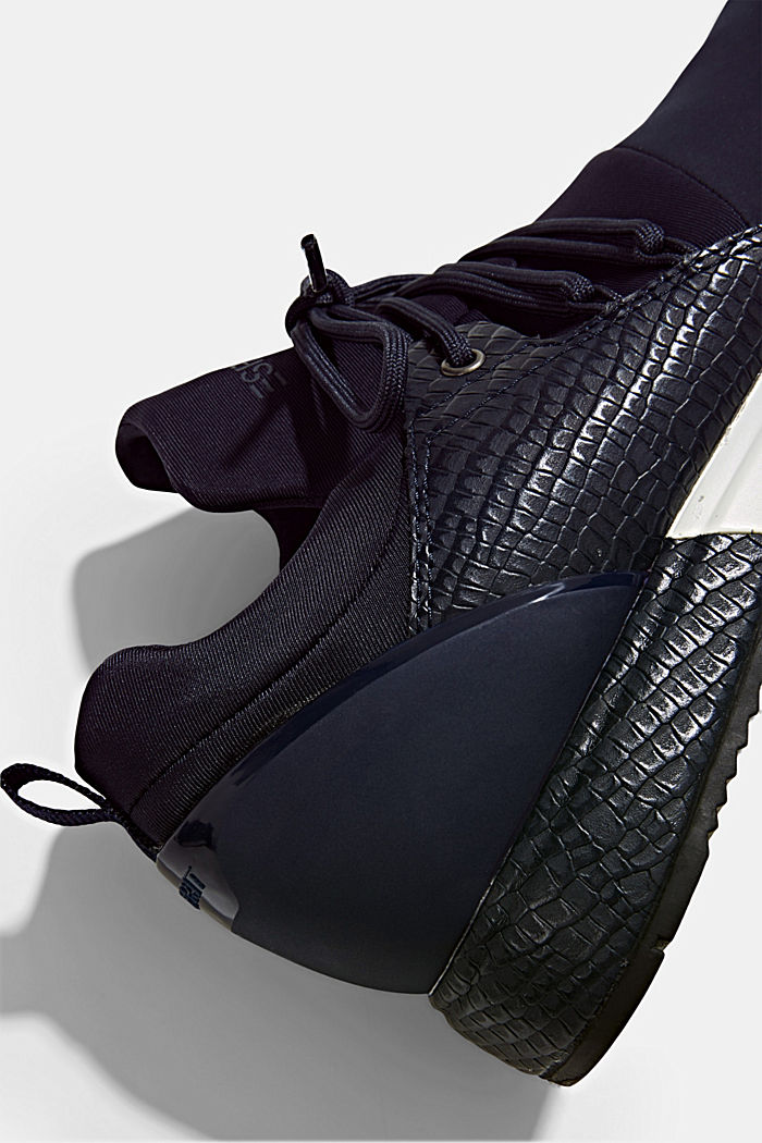Trainers with neoprene and an embossed reptile finish, NAVY, detail image number 4