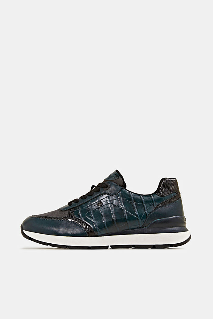 Faux leather fashion trainers, DARK TEAL GREEN, detail image number 0