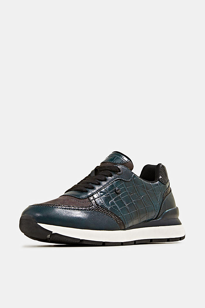 Faux leather fashion trainers, DARK TEAL GREEN, detail image number 1