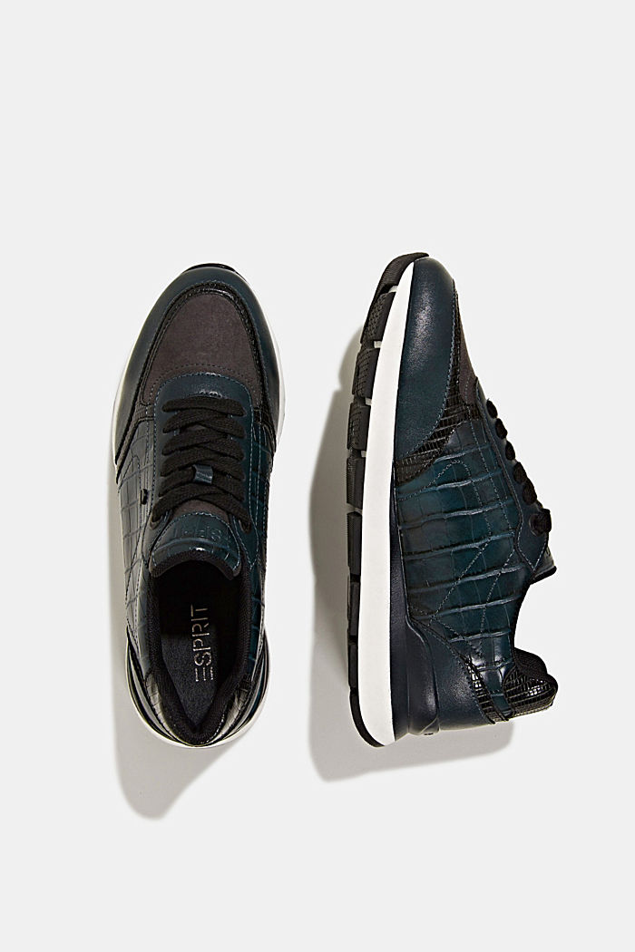 Faux leather fashion trainers, DARK TEAL GREEN, detail image number 5
