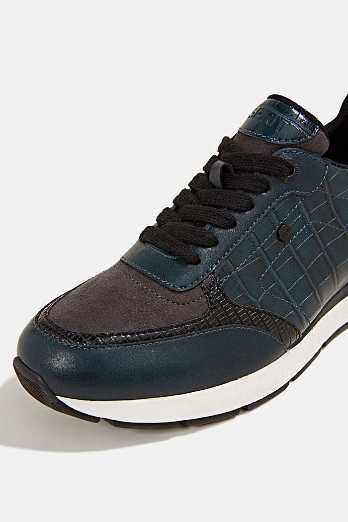 Faux leather fashion trainers, DARK TEAL GREEN, detail image number 3