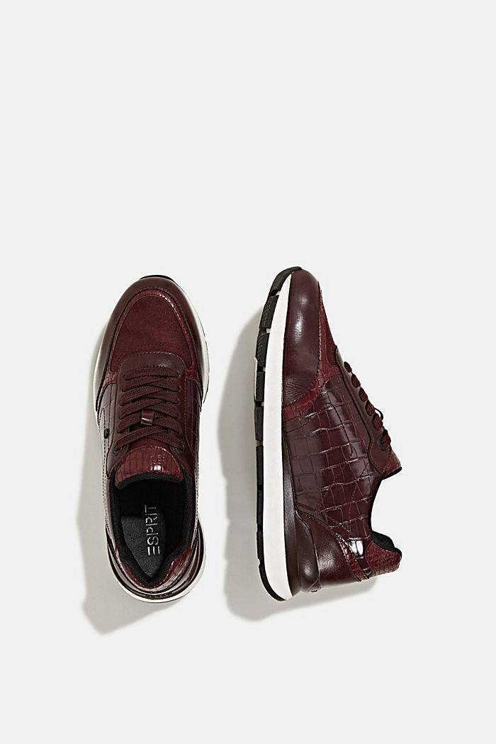 Faux leather fashion trainers, BORDEAUX RED, detail image number 1