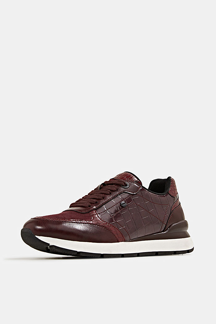 Faux leather fashion trainers, BORDEAUX RED, detail image number 2