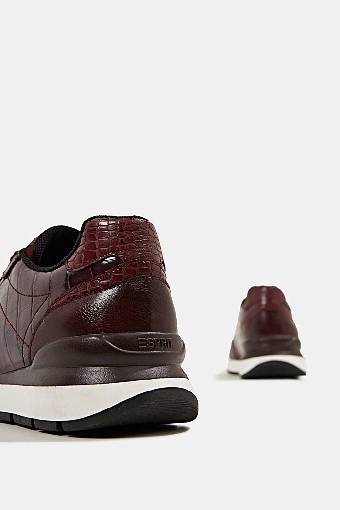 Faux leather fashion trainers, BORDEAUX RED, detail image number 5