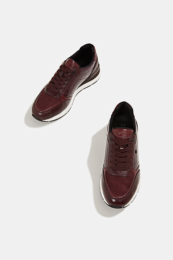 Faux leather fashion trainers, BORDEAUX RED, detail image number 6
