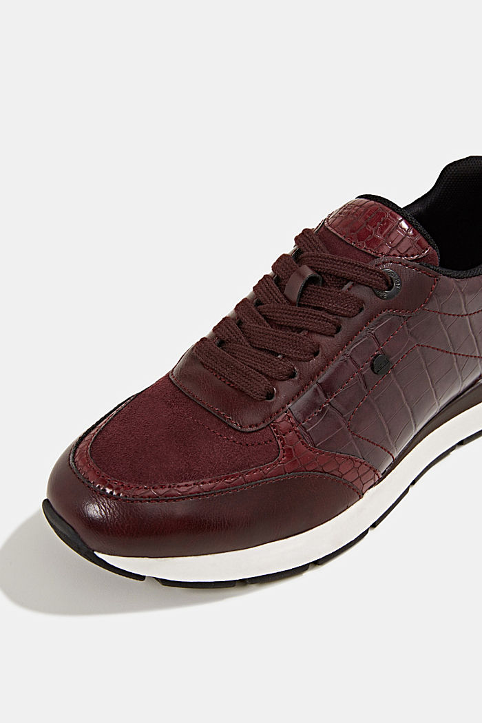Faux leather fashion trainers, BORDEAUX RED, detail image number 4
