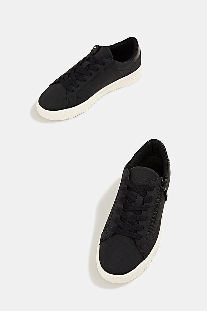 Sneaker in Leder-Optik mit breiter Sohle, BLACK, detail image number 1