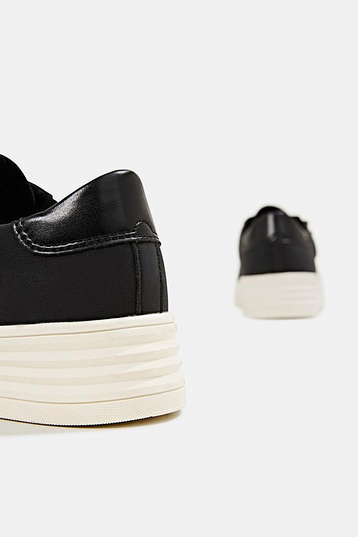 Sneaker in Leder-Optik mit breiter Sohle, BLACK, detail image number 4