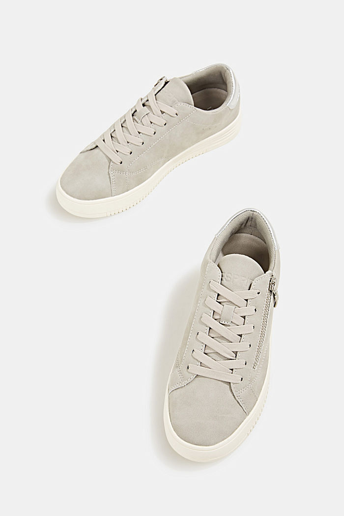 Faux leather trainers with a wide sole, LIGHT GREY, detail image number 1