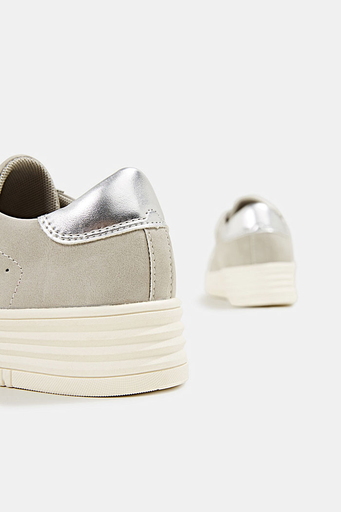 Faux leather trainers with a wide sole, LIGHT GREY, detail image number 5