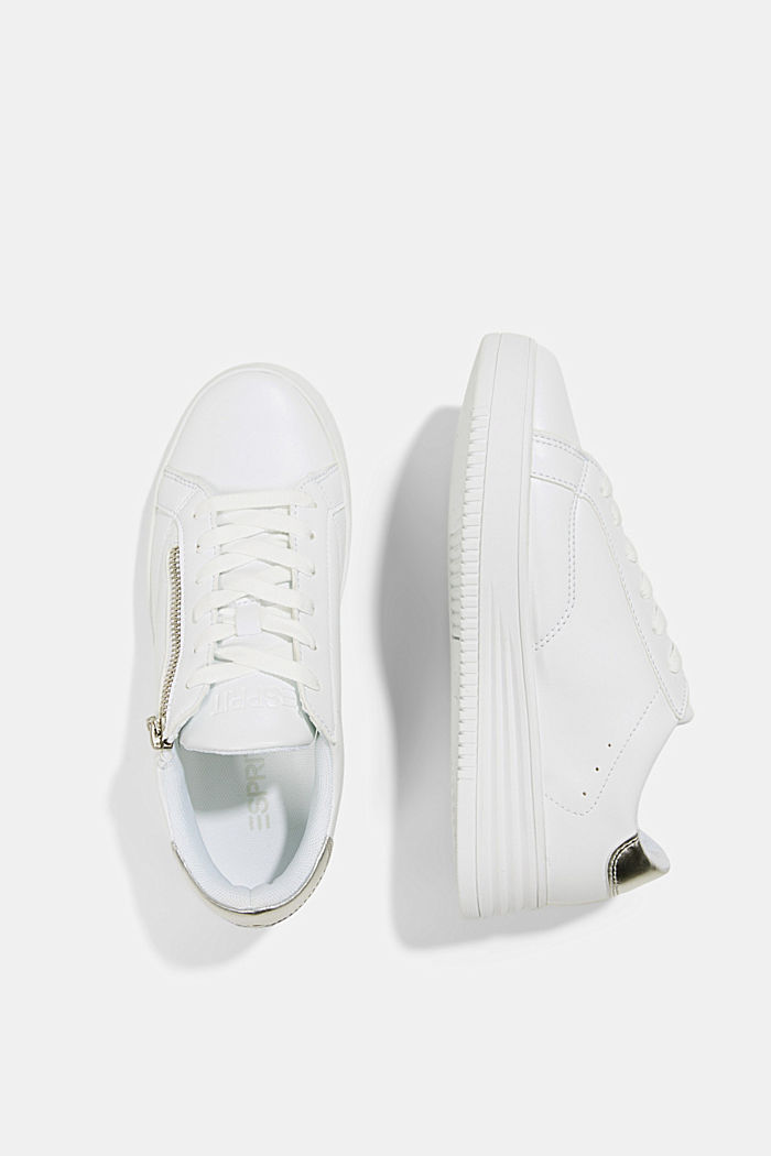 Faux leather trainers with a wide sole, WHITE, detail image number 1