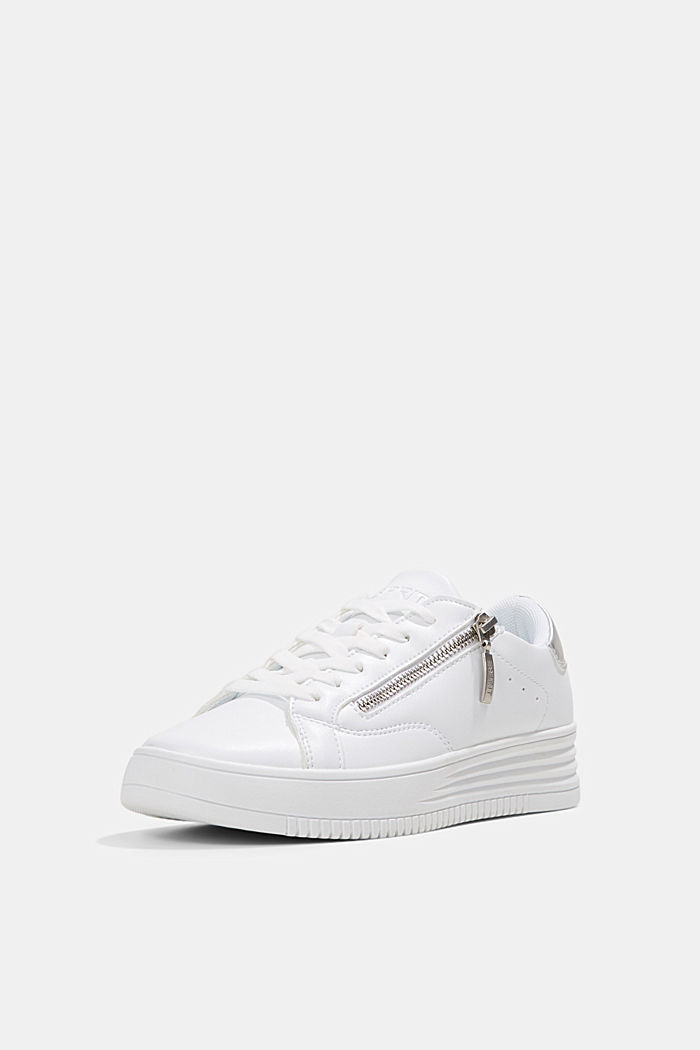 Faux leather trainers with a wide sole, WHITE, detail image number 2