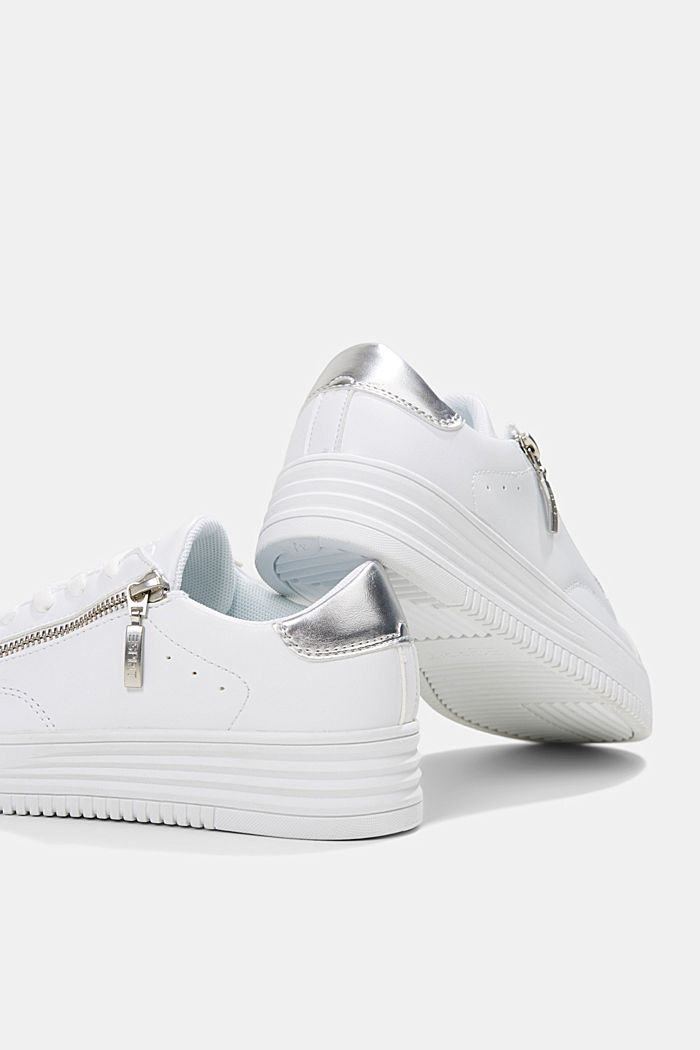 Faux leather trainers with a wide sole, WHITE, detail image number 5