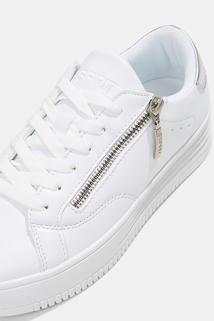 Faux leather trainers with a wide sole, WHITE, detail image number 4